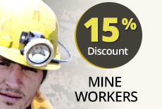 Partner Discount 15 % Mine Workers